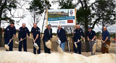 City of Lakeway Police executives break ground on the city's new police facility Feb. 16, 2018. Chief Todd Radford (third from left) stands beside City Manager Steve Jones and Mayor Joe Bain.