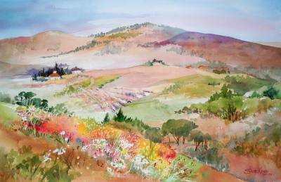 Tuscan Tapestry is a watercolor by Texas artist Sue Kemp.