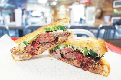 1904 ($8.50): sliced brisket and melted cheese sandwich on buttered Texas toast