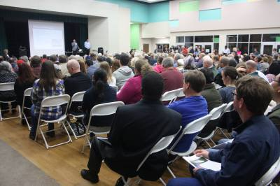 Hundreds of Harris County residents attended a public forum hosted by the Federal Railroad Administration Monday night in Cypress.