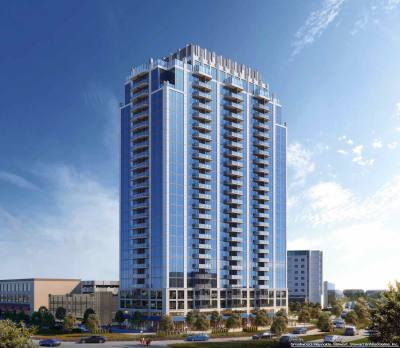 SkyHouse Frisco Station is a 25-story apartment high-rise with 332 urban living units.