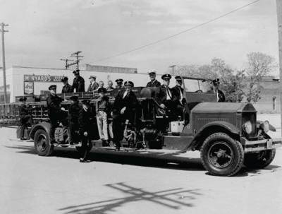 This photo, found in archives from the fire department museum, depicts an old truck used by the department in the late 1950s.