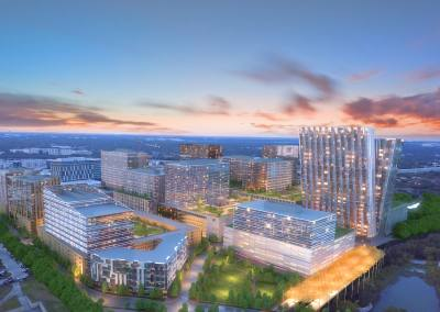 The redevelopment of the IBM Broadmoor Campus includes at least 2,000 housing units, building heights of 360 feet and a new Capital Metro Rail Station.