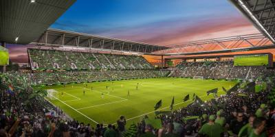 Renderings for a proposed Major League Soccer stadium at McKalla Place in Austin.