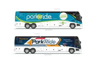 Mockups of possible park and ride buses show what Pearland's service could look like.