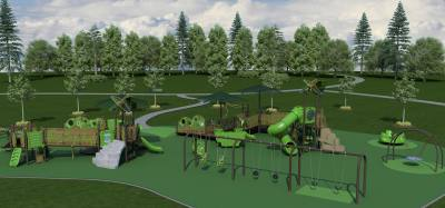 A conceptual rendering shows what the Cottonwood Park playground could look like when the inclusive amenities are completed.