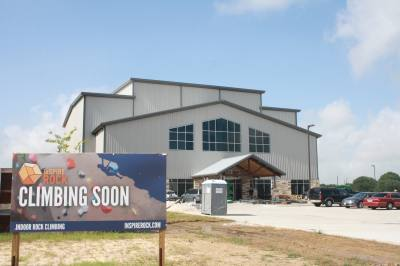 Construction is nearing completion on an inSPIRE Rock rock climbing gym on House & Hahl Road in Cypress, which is expected to open this summer with wall heights of up to 63 feet.n