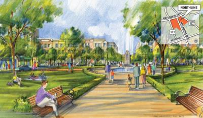 A rendering shows what a public park within Northline could potentially look like.