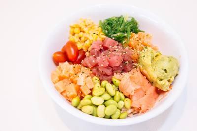 LemonShark Poke serves fresh poke bowls made with line-caught fresh fish from the Pacific Ocean.