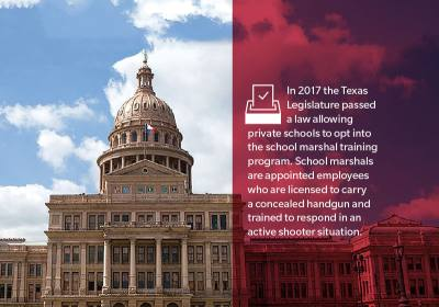 Texas Legislature passed a law allowing private schools to opt into the school marshal training program.