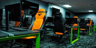 Esports competition rooms include maxnomic chairs, computers built for professional gaming and viewing screens for spectators.