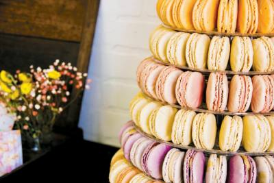 Woops can design gluten-free macaron arrangements for weddings or other events.
