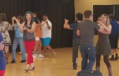 The dance studio offers private lessons and group classes.