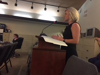 Buie & Co. partner Ashley Kegley-Whitehead speaks to the Rollingwood City Council at its Aug. 15 meeting.