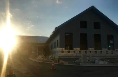 The sun sets Aug. 7 behind the new Sunset Valley city facility. The project is about halfway complete.