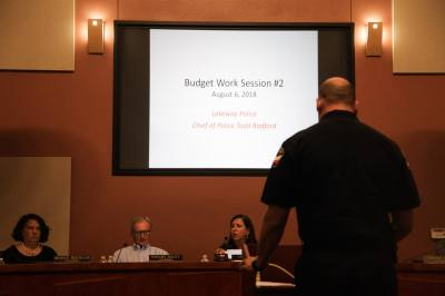 Lakeway Chief of Police Todd Radford gives presentation to Lakeway City Council Monday on the Police Department's request for an additional police officer.