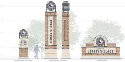 New gateway signs will be built in Jersey Village featuring a brick facade and the city's red, white and blue star.