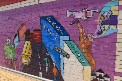 A mural on the wall of Kealing Middle School