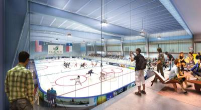 A rendering shows the seating area of an indoor ice rink at the proposed iSports Training and Performance Center.