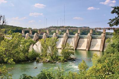 The Tom Miller Dam in Austin was constructed for flood control and generating hydroelectric power.