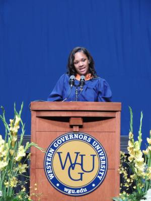 Latrivia Guinn, who received a Master of Science in Nursing degree from Western Governors University, addressed her fellow graduates at the University of Texas's Frank Erwin Center on Saturday, Aug. 18.