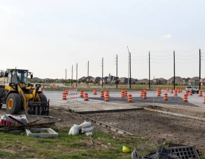 Construction is still ongoing on the inside lane of the traffic circle and the exit streets that are being widened.