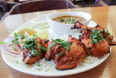 Classic kebab ($10.99)nThe kebab dish can be served skewered or in a salad bowl, with a choice of marinated chicken or paneer and a variety of sauces and spices.