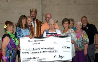 Texas Renaissance Festival officials presented a donation to Society of Samaritans in late July.