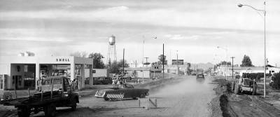 1957: Main Street, which is now Gilbert Road, was paved and had sewers installed in 1957, much to the consternation of former Mayor Roy Fuller. The photo looks north up the road as preparations were made for that paving project.
