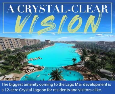 The biggest amenity coming to the Lago Mar development is a 12-acre Crystal Lagoon for residents and visitors alike.