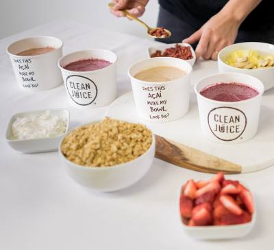 Clean Juice offers snacks and smoothies in addition to its signature juice blends and cold-pressed juice bottles.