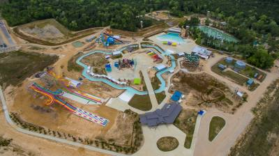 Grand Texas will open its first two attractionsu2014Big Rivers Waterpark and Gator Bayou Adventure Parku2014on May 25.