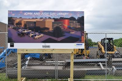 The John and Judy Gay Library broke ground on its new expansion April 23.