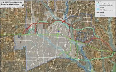 The city of McKinney sent an alignment for US 380 (shown in teal) to the North Central Texas Council of Governments April 24. This is a concept plan, not a preferred alignment, according to the city.