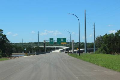 Exit ramps head north and west from SH 45 SW.