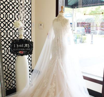 When brides find their dream dress at La Ru00eave Bridal Couture, they can photograph themselves with an u201cI said yesu201d plaque to commemorate their decision.