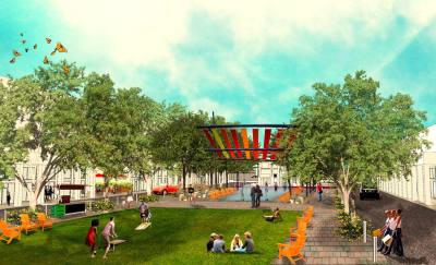 An early rendering shows how the town thought The Commons area might look. The rendering was made before Gilbert Town Council selected a developer.