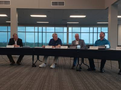 From left, Chairman David Hays and John Marler, Tim Lear and Bryon Brochersu2014four of the nine 2019 Williamson County Citizens Bond Committee membersu2014listen to Precinct 3 presentations May 30.
