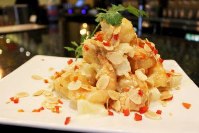 Pineapple shrimp aioli is one of over 200 dishes offered at Jeng Chi.