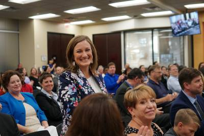 Jamee Jolly receives applause after being appointed as the new Plano ISD Education Foundation senior executive director.