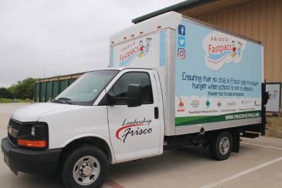 A truck donated by Leadership Frisco Class XX is used for meal deliveries.