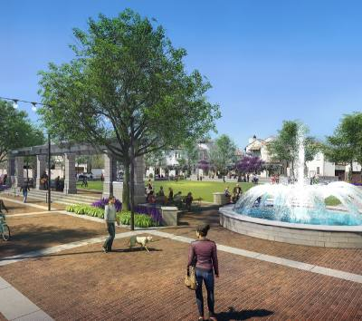 This rendering shows the concept of Colleyvilleu2019s new community plaza, which will be built in front of City Hall.