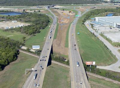 Crews continue construction of three new bridges: the northbound SH 26 off-ramp to northbound SH 121, the southbound SH 121 off-ramp to I-635 and the eastbound direction of Bass Pro Drive.