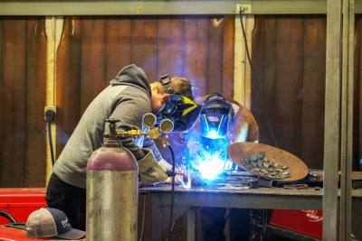 Highland High School students in the agriscience and engineering class have learned to weld, giving them an employable skill.