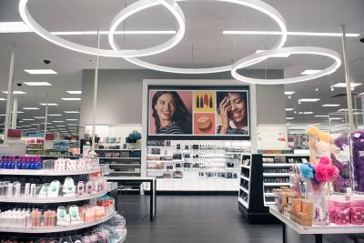 The health and beauty section of a remodeled Target store in Gainesville, Virginia