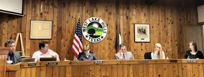 West Lake Hills City Council members and staff discuss the potential November bond election at the May 8 meeting.