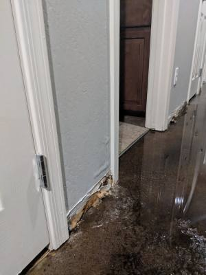 Homeowners insurance does not cover flood damage in homes, like this damage from a rainstorm.