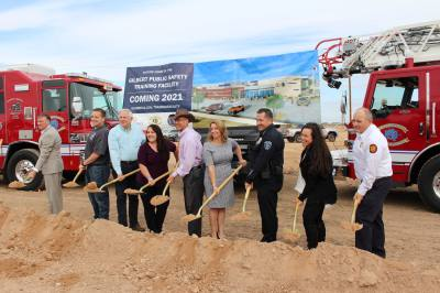 Town officials turn dirt at the May 20 Public Safety Training Facility groundbreaking. From left are Town Manager Patrick Banger, Council Member Jordan Ray, Council Member Scott Anderson, Council Member Brigette Peterson, Vice Mayor Eddie Cook, Mayor Jenn Daniels, police Chief Michael Soelberg, Deputy Town Manager Leah Hubbard and fire Chief Jim Jobusch.
