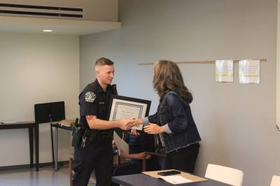 Officer Matthew Valli was one of three Austin police officers honored by the Oak Hill Association of Neighborhoods on May 15.