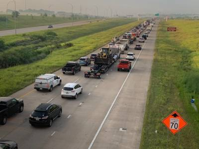 SH 130 at East Pecan Road is backed up several miles from the accident scene at Parmer.